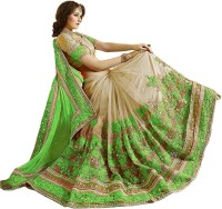 Nivah Fashion Embroidered Bollywood Satin, Chiffon, Net Saree(Light Green, Beige)