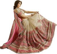 Nivah Fashion Embroidered Bollywood Satin, Chiffon, Net Saree(Pink, Beige)