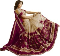 Nivah Fashion Embroidered Bollywood Chiffon, Cotton Blend Saree(Maroon, Beige)