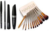 TheTopNotch Eyebrow Pencil Black & Mac Liquid EyeLiner & Mac Mascara & Kazal & Naked 3 Brushes set of 12 ( 5 in 1)(1 Items in the set)