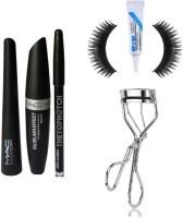 TheTopNotch EyeBrow Pencil & MAC Eye Liner & MAC Mascara & Eyelash Curler & Eyelashes & Glue (6in1) (Set of 6)(6 Items in the set)