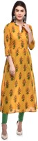 GLAM ROOTS Women Printed A-line Kurta(Yellow)