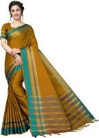 Anni Designer Striped Fashion Silk Cotton Blend Saree(Mustard)