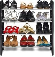 Ebee Plastic Shoe Stand(Black, 4 Shelves)
