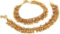 Yellow Chimes Studded Golden Oxidized Traditional Kundan Payal Anklets Metal Anklet(Pack of 2)