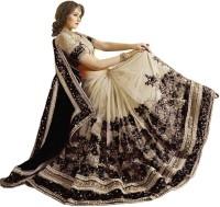 Nivah Fashion Embroidered Bollywood Satin Blend, Chiffon, Cotton Blend Saree(Black, Gold)
