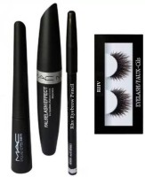 RHV Eyelash Black and Eyebrow Pencil Black & MAC Liquid EyeLiner & MAC Mascara(Set of 4)