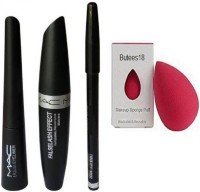 Butees18 Blender puff and Eyebrow Pencil Black & MAC Liquid EyeLiner & MAC Mascara(Set of 2)