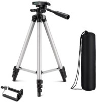 snowbudy Portable Tripod-3110 Extendable Camera and Mobile Selfie Stand With Three-Way Head & Quick Release Plate For Digital Cameras and mobile clip holder for Mobiles & Smartphones Tripod(Silver, Black, Supports Up to 1500 g)