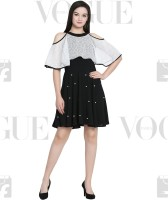 Fashion Ritmo Women Fit and Flare Black, White Dress