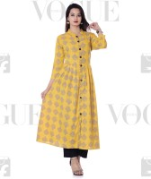 DUENITE Casual Block Print Women Kurti(Yellow)