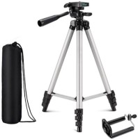 KBOOM Camera Tripod 3110 Stand Mobile Phone Tripod Mini Portable Lightweight Aluminum Tripod with Mobile Phone holder Tripod(Silver, Black, Supports Up to 1500 g)