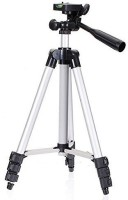 haltbuy Long 4 Section Adjustable 3 Way Pan & Tilt Tripod for DSLR | Mobile,Travel Purpose Tripod(Grey, Supports Up to 600 g)