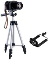 eDUST Portable Lightweight Tripod-3110A With Three-Dimensional Head & Quick Release Plate For Video Cameras and mobile clip holder for Smartphones & Mobiles ( Black, Supports Up to 1500g) Tripod(Black, Silver, Supports Up to 1500 g)