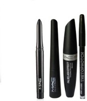 TheTopNotch Eyebrow Pencil Black & Mac Liquid EyeLiner & Mac Mascara & Kazal (MAC 4in1) (Set of 4)(Set of 4)