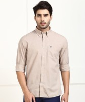 Arrow Sport Men Solid Casual Beige Shirt