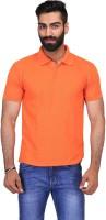 Ave Solid Men Polo Neck Orange T-Shirt