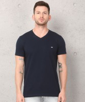 Metronaut Solid Men V-neck Dark Blue T-Shirt