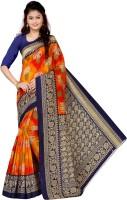 Vimalnath Synthetics Printed Bhagalpuri Art Silk Saree(Orange, Dark Blue)