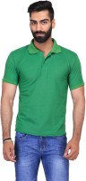 Ave Solid Men Polo Neck Light Green T-Shirt
