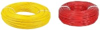 D'mak Fiber-Cab PVC Insulated Wire 1.0 SQ/MM Single Core Flexible Copper Cables for Domestic/Industrial Electric | Electric Wire | | 1 sq mm Wire | | (Red...yellow) 1 sq/mm Red 90 m Wire(red, yellow)