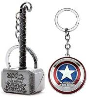 BBS DEAL Marvel Avengers Thor Captain America Silver Keychains and Key Rings Combo (Pack of 2) Key Chain