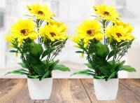 Litleo Great For Home Office , Gift , Or Decoration ,Bring Brightness with these Yellow Sunflower Artificial Flower  with Pot(15 inch, Pack of 2)