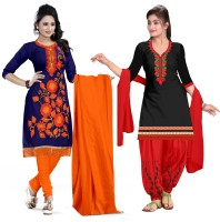 PMD Fashion Cotton Blend Solid, Embroidered Salwar Suit Material(Unstitched)