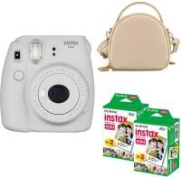 FUJIFILM mini 9 Smokey White with rice white shell bag and 40 Shots Instant Camera(White)
