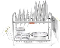 Home Creations 2 Layer 16 inch Kitchen Dish Rack / Kitchen Utensils Steel Kitchen Rack(Steel)