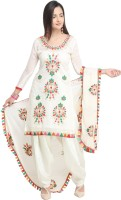 EthnicJunction Poly Chanderi Embroidered, Solid Salwar Suit Material(Unstitched)