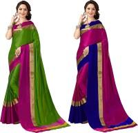 Prabhas Woven, Solid Kanjivaram Cotton Silk Saree(Pack of 2, Green, Pink, Pink, Blue)