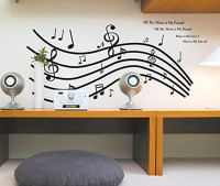GOLDEN CART Large Wall Sticker Monochrome Music Notes Octave with Quote Decor for Home (PVC Vinyl, Black, Finished Size on Wall: 155x70cm)(Pack of 1)