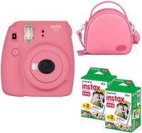 FUJIFILM mini 9 Pink with pink shell bag and 40 Shots Instant Camera(Pink)