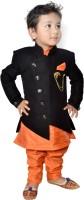 Lakshu Fashions Boys Festive & Party Kurta, Waistcoat and Pyjama Set(Black Pack of 1)
