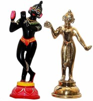 krishnagallery1 Original Brass Black Paitig Radha Krishan Statue Murti , Radha Krishan Idol , Laddu Gopal Murti ,Krishna Statue ( For Home Temple Use ,Gifted Use ) Decorative Showpiece  -  15 cm(Brass, Multicolor)