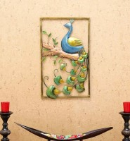 SV Traders Iron Multi Color Painted Wall Peacock Frame Decorative Showpiece  -  53 cm(Iron, Multicolor)
