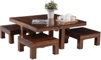 Durian Dark Oak Solid Wood Table & Bench Set(Finish Color - Dark Oak)