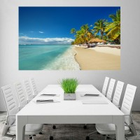 Ocean Beach and Coconut Trees HD Wallpaper No Framed 2ft X 4ft Canvas Art(48 inch X 24 inch)