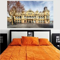 Historical Building Port of Barcelona HD Wallpaper No Framed 2ft X 4ft Canvas Art(48 inch X 24 inch)
