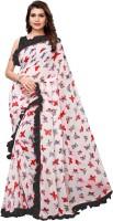 Ashiya Fab Floral Print Fashion Georgette Saree(Black)