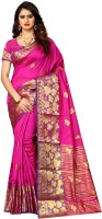 Shoppershopee Printed Kanjivaram Poly Silk, Pure Silk Saree(Pink)