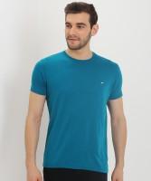 Metronaut Solid Men Round Neck Blue T-Shirt
