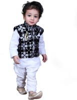 KL Collection Boys Festive & Party Kurta, Waistcoat and Breeches Set(White Pack of 1)