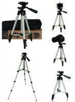 GROSTAR Portable Adjustable Aluminum High Quality Lightweight Camera Stand With Three-Dimensional Head & Quick Release Plate For Video Cameras, Tripod With Mobile Clip Holder Bracket, Fully Flexible Mount Cum Tripod(Silver, Black, Supports Up to 3200 g)