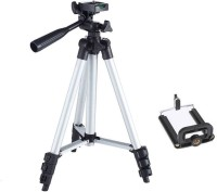 Mob Fest Tripod-3110 Portable Adjustable Aluminum Lightweight Camera Stand With Three-Dimensional Head & Quick Release Plate For Video Cameras and mobile Tripod (Silver Supports Up to 1500 g) Tripod (Silver, Supports Up to 1500) Tripod(Silver, Black, Supports Up to 1500 g)