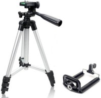 GO SHOPS 3110 Portable Camera Tripod with Three-Dimensional Head & Quick Release Plate with Mobile Holders Tripod(Silver, Supports Up to 3000 g)