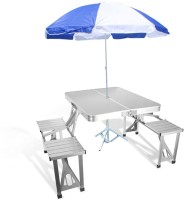 Heirloom Quality Aluminium Portable Folding Camp Suitcase Table 4 Seater Attached Lawn Dining Bench and Chair Set for Garden, Indoor, Outdoor Umbrella Metal Outdoor Table(Finish Color - Silver)