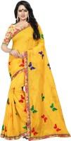 Ashiya Fab Self Design Fashion Cotton Saree(Yellow)