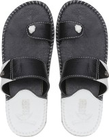 Kraasa Men Synthetic Leather Chappal (Black) Slippers